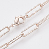 Brass Textured Paperclip Chain Necklace MakingMAK-S072-01A-RG-1