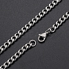 Men's 304 Stainless Steel Cuban Link Chain Necklaces NJEW-T012-04A-66-S-1
