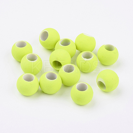 Rubber Style Neon Glass Round BeadsX-DGLA-R024-18mm-1-1