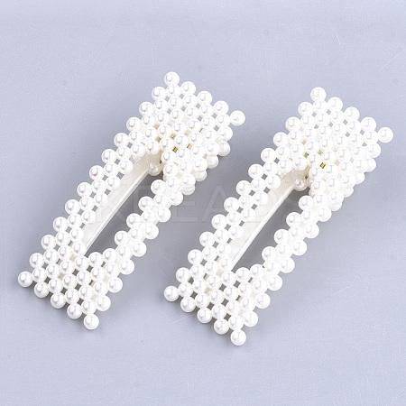 ABS Plastic Imitation Pearl Alligator Hair ClipsOHAR-S198-01-1