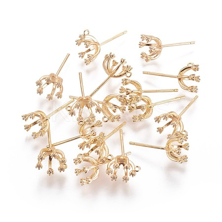 Brass Stud Earring Findings KK-L180-028G-NF-1