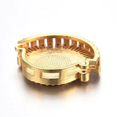 Brass Micro Pave Cubic Zirconia Slide CharmsZIRC-E157-02E-G-1