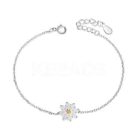 SHEGRACE® Trendy Sterling Silver White Lotus Flower Link BraceletJB07A-1