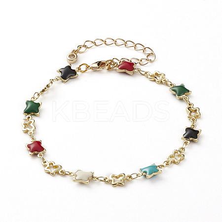 Brass Enamel Butterfly Link  BraceletsBJEW-JB05812-1