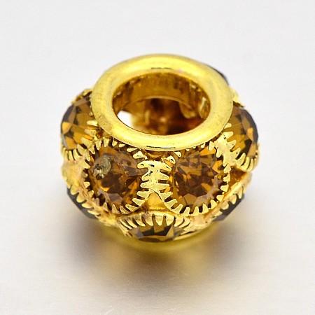 Golden Tone Brass Grade A Rhinestone Rondelle BeadsRB-J324-18mm-15G-1