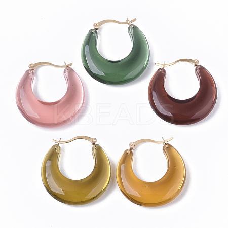 Transparent Acrylic Hoop EarringsX-TACR-T009-017-1