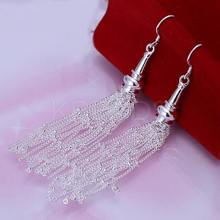 High Quality Silver Plated Brass Tassel Dangle Earrings EJEW-BB11845-1