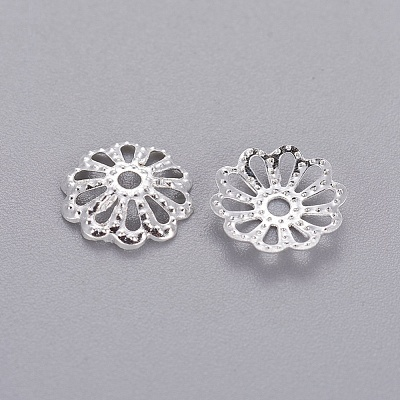 Silver Color Plated Filigree Flower Iron Bead Caps X-IFIN-E191Y-S-1