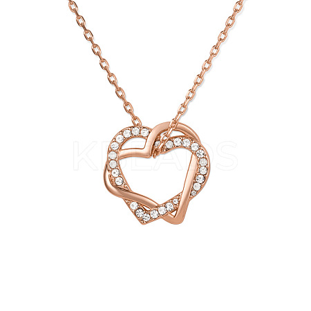 SHEGRACE® Heart to Heart Brass Forever Love Karat Rhinestone Pendant NecklaceJN09A-1