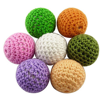 Handmade Beads, Acrylic covered with Wool, Round, Mixed Color, Size: about 21mm in diameter